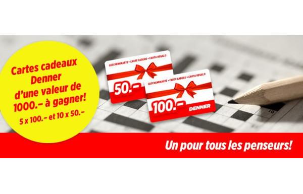 """Concours """"Mots fléchés"""" Denner - Gagnez des bons d'achat Denner d'une  valeur de CHF 1'000.- - Concours.ch"""