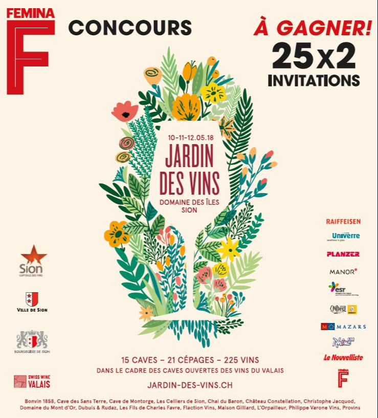 Concours femina gagnez 25x2 invitations pour jardin des for Jardin des vins 2016 sion